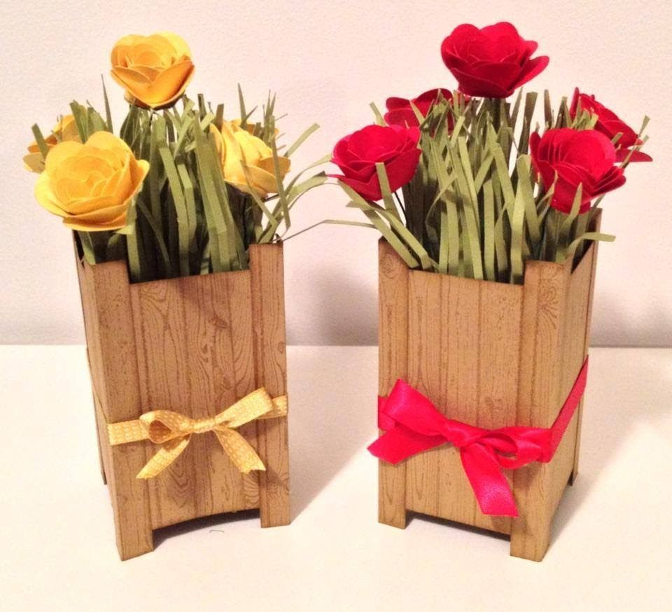 3d Paper Flowerpot Using Stampin Up Products Paper Flowers