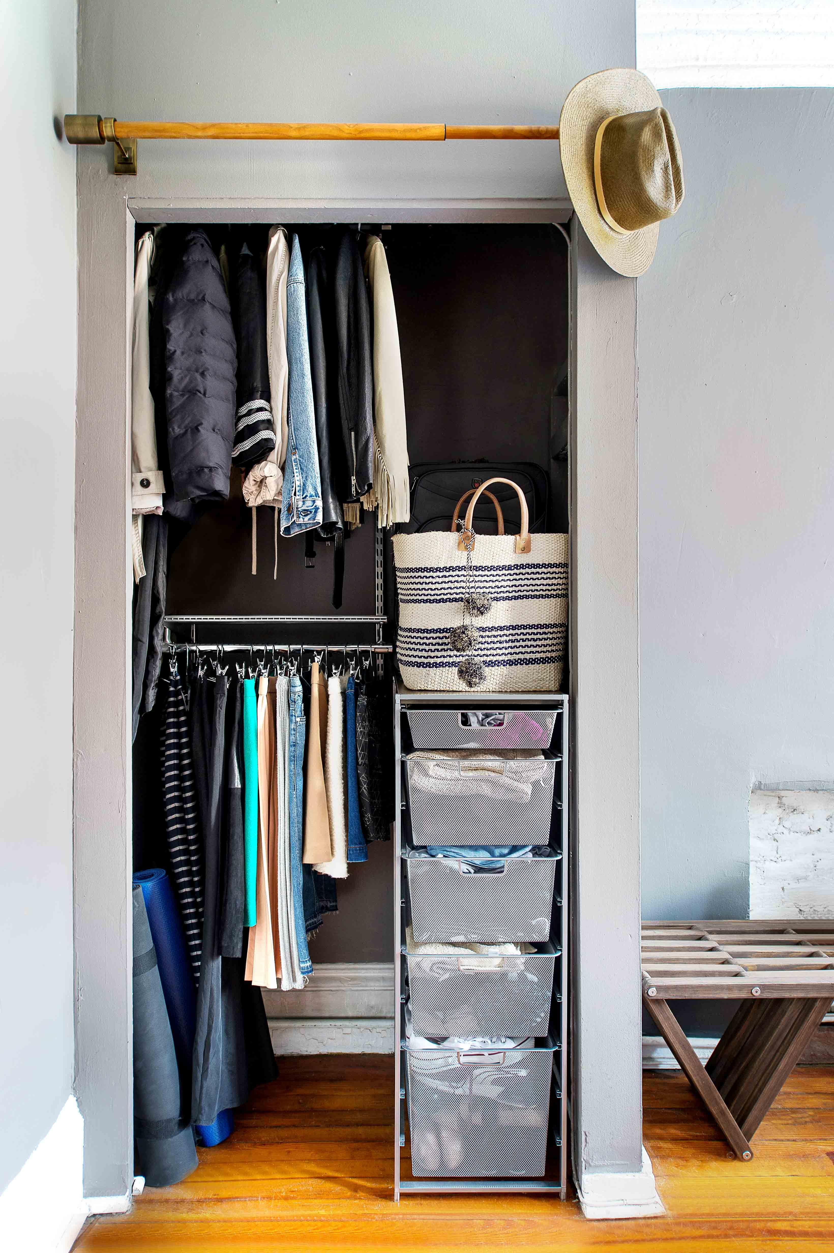 Closet Makeover How I Made My Small Nyc Space Feel Spacious Closet Makeover Small Closet Space Closet Apartment