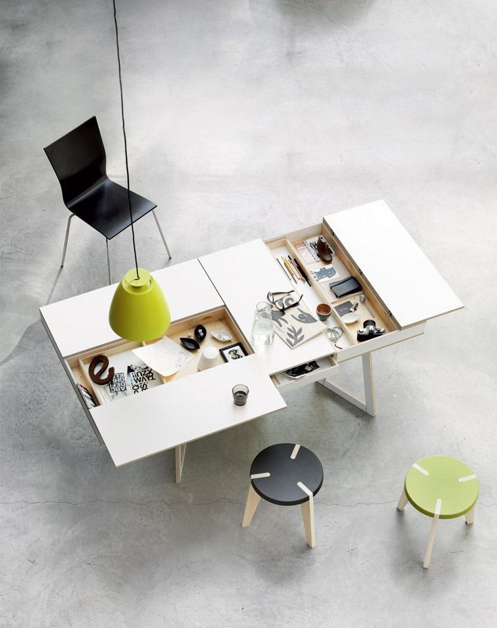 Office, Unbilieveable Design Of Hidden Compartment Desk Wooden Style Color  With Black Chair Green Circle Chair Also Chandelier And Natural Marble  Floor: ...