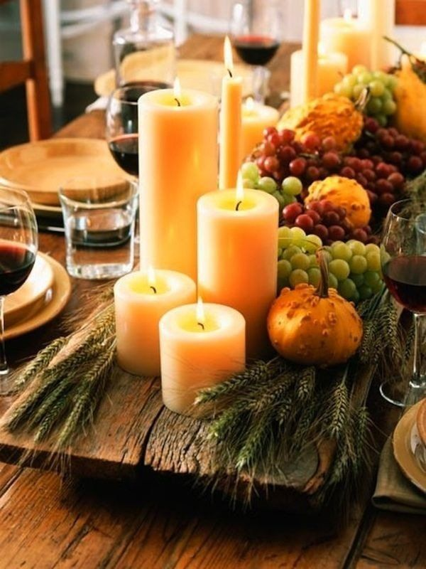 DIY Fall Table Decorations Pillar Candles Grapes Pumpkins Festive Table  Centerpiece Ideas