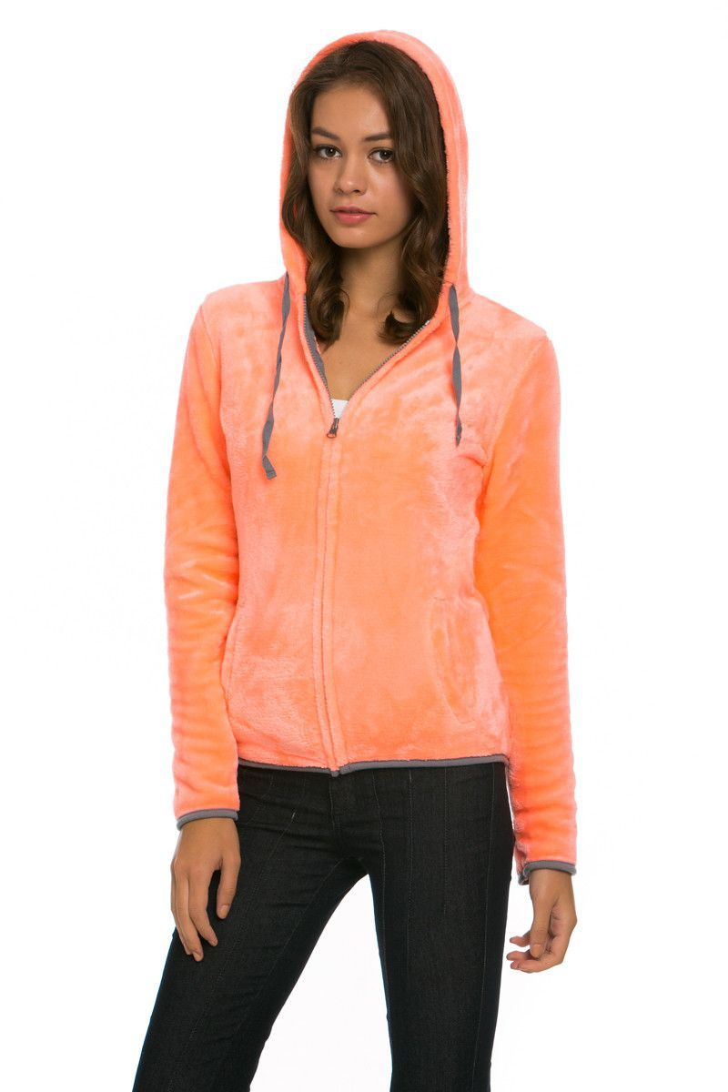 Women's Full Zip Fleece Hoodie Jacket Neon Orange - Jacket - My Yuccie - 2