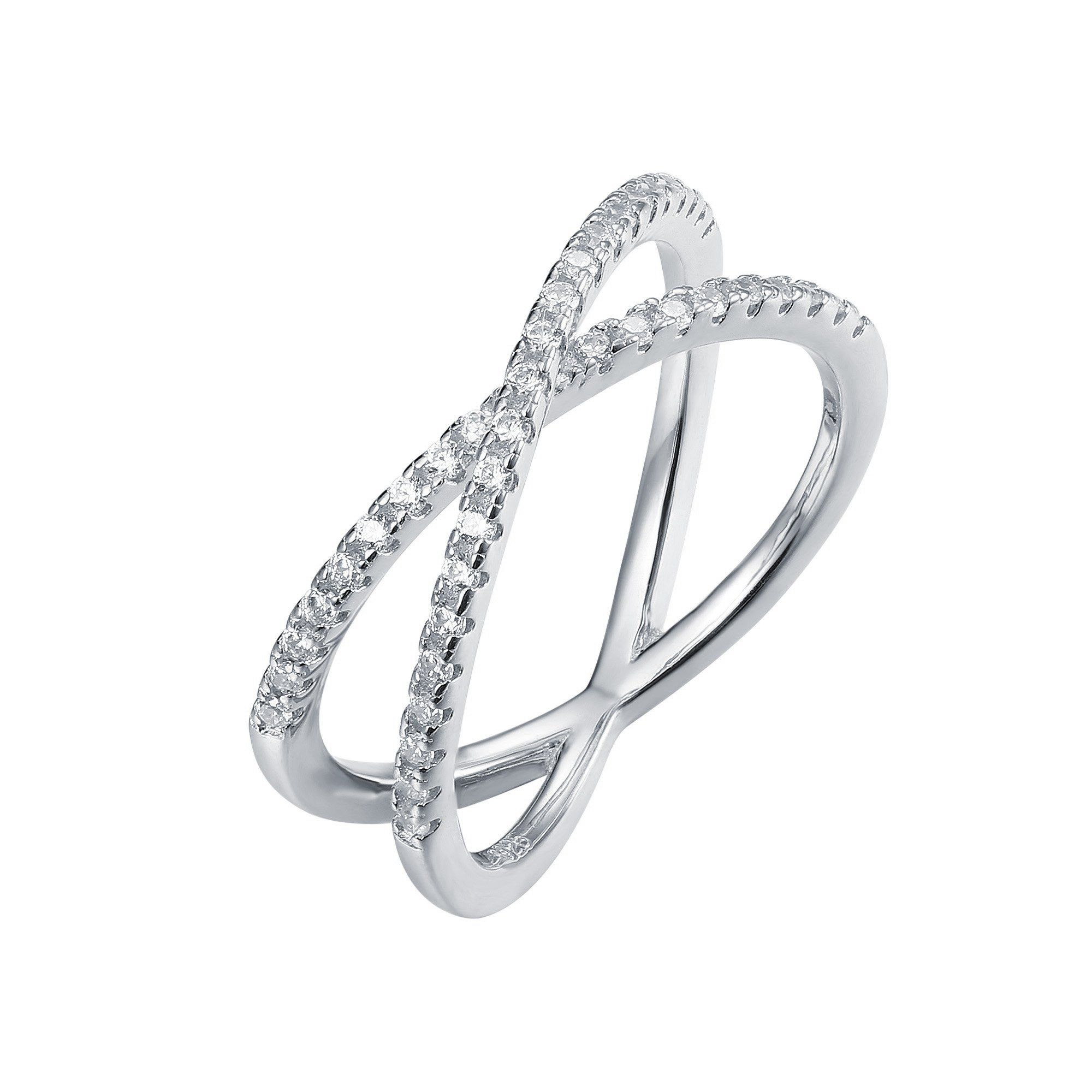 """Black And White 925 Silver Cubic Zirconia CZ Criss-Cross Single /""""X/"""" Long Ring"""