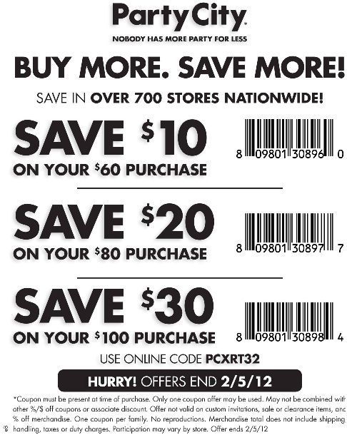 Discount At Party City Party City Printable Coupons Party Printables Free