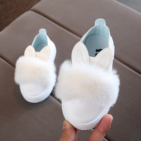 Lovely Baby Kids Girls Casual Comfortable Shoes Rabbit Ears Slip On Pompom Shoes