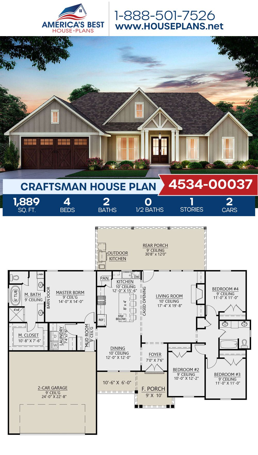House Plan 4534 00037 Craftsman Plan 1 889 Square Feet 4 Bedrooms 2 Bathrooms My House Plans Craftsman House Plans House Blueprints