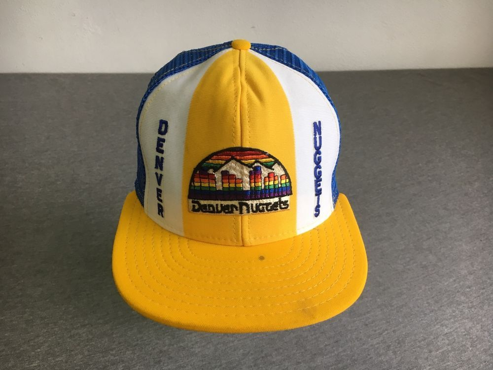 3f4c24385 Denver Nuggets Snapback Hat AJD Mesh Trucker Cap Rainbow Skyline ...