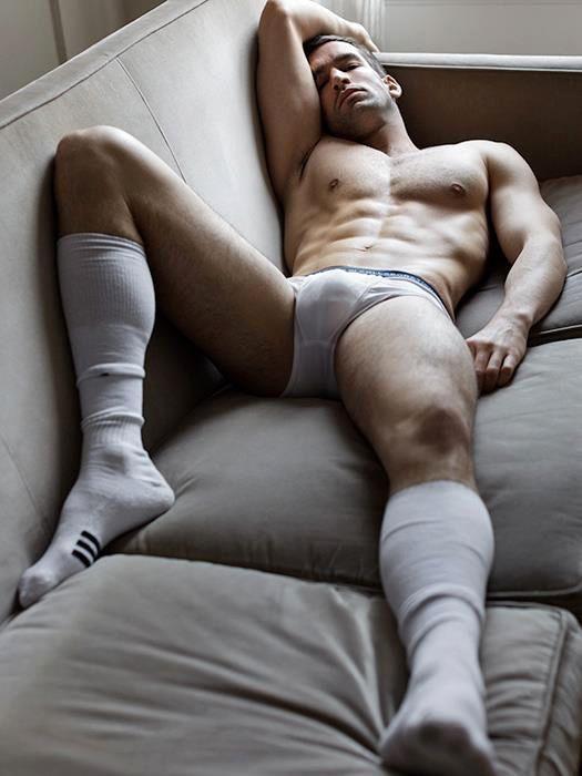 Men in underwear tube