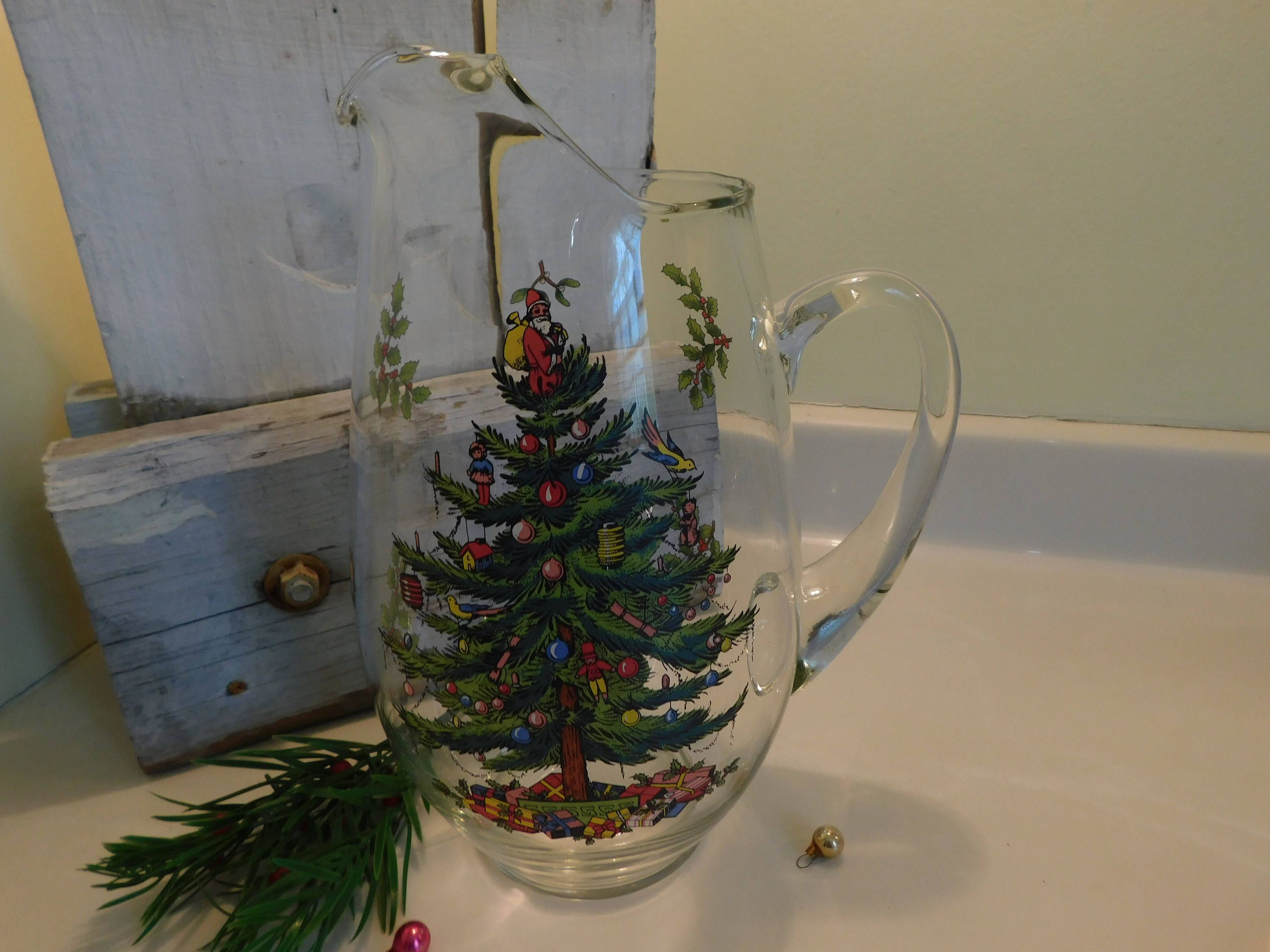 Vintage Spode Christmas Tree Pitcher In Original Box