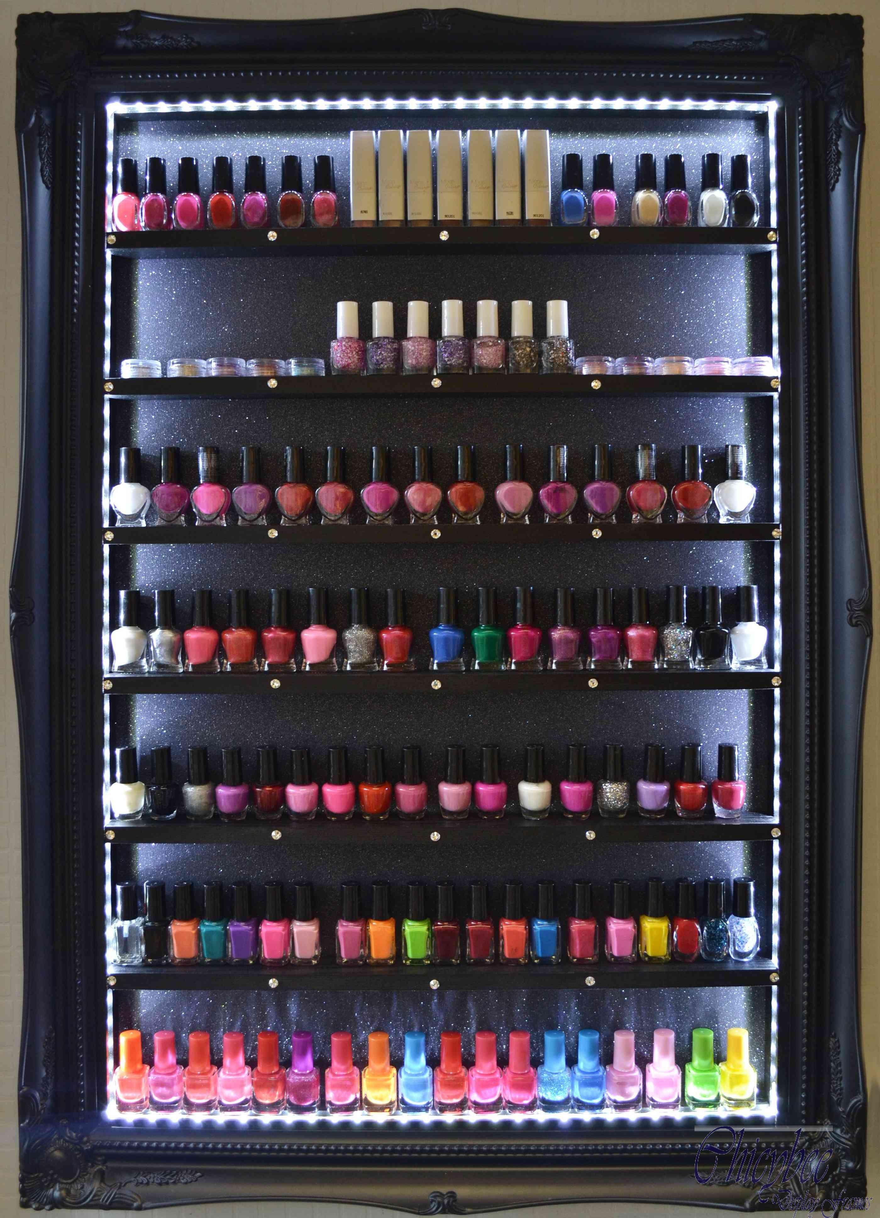 Uncategorized Nail Varnish Organiser nail polish rack beauty product organiser black glitter led lights and swarovski crystals