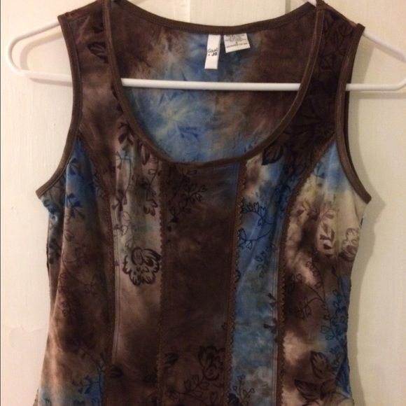 Beautiful print summer top Soft silky, summer tank top. Different shades of blues and brown , very pretty and unique. Looks great with jeans.  Like new condition . Sami Jo Tops Tank Tops