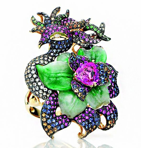 Jeweller extraordinaire Wendy Yue pink silver diffusion line MSY ~ Sacred Phoenix Ring in 18k yellow gold with jade, white diamonds, brown diamonds, pink, yellow, blue and white diamonds, and tsavorite