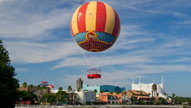 Characters in flight air balloon ride at Disney Springs