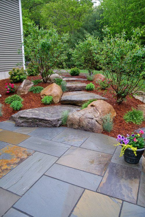 Landscaping Tip Pair Mulch With Large Flat River Stones To Create An Interesting Transitional Point Or Walkway Outdoor Plants Landscaping Tips Garden Steps