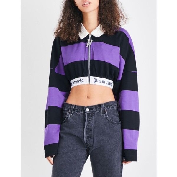 c95bd2700f9 Palm Angels Striped cotton-jersey polo top ($295) ❤ liked on Polyvore  featuring tops, boxy tops, stripe top, polo tops, boxy crop top and long  sleeve crop ...
