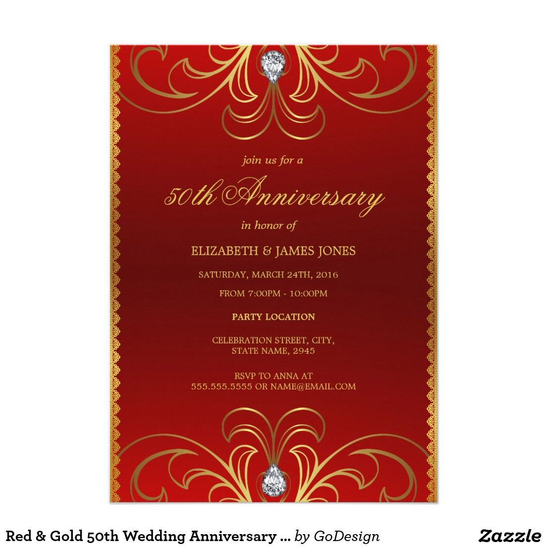 Red & Gold 50th Wedding Anniversary Invitation | Lace and bow ...