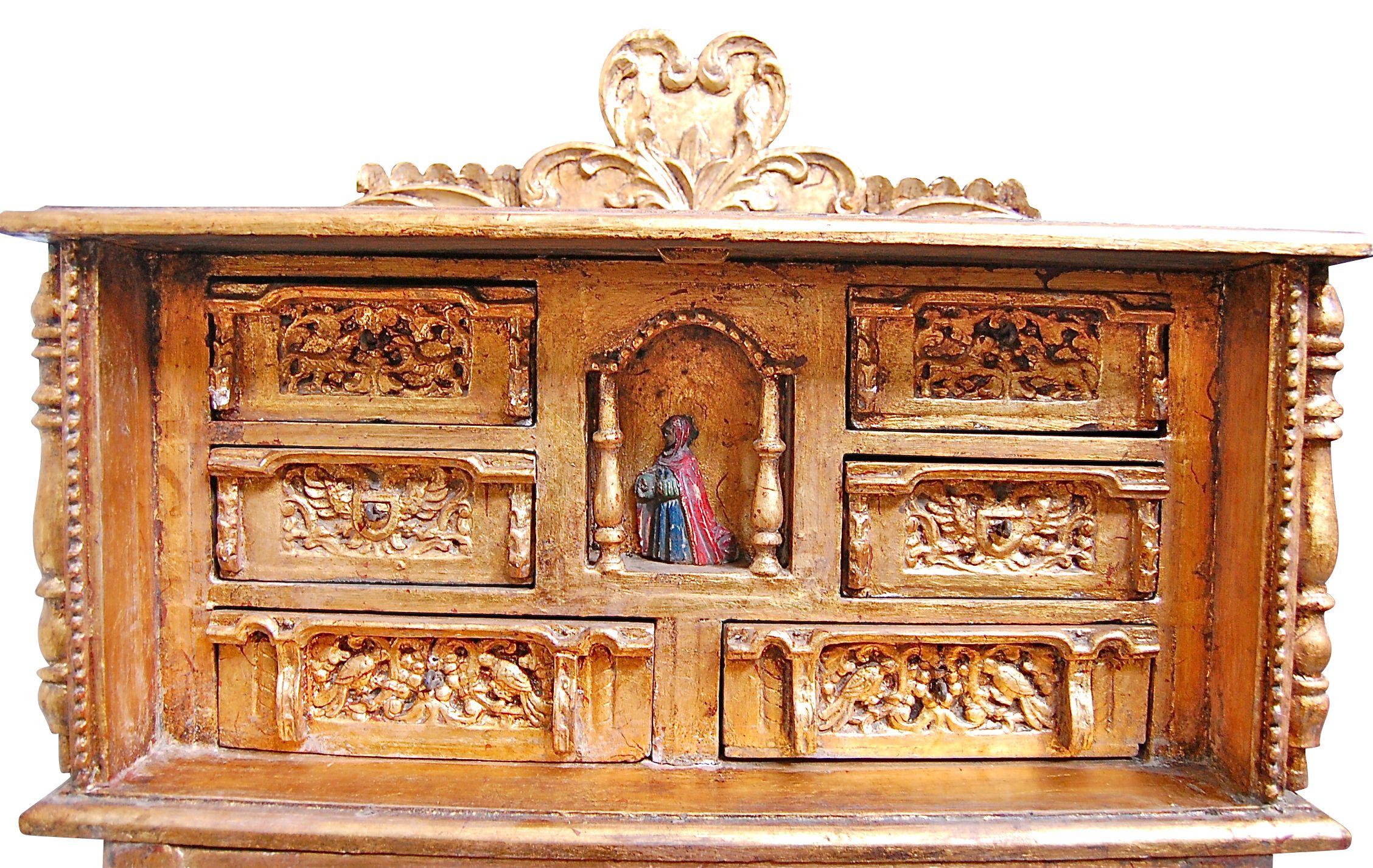 Credenza Peru : Antique carved spanish peruvian colonial credenza bargueno on