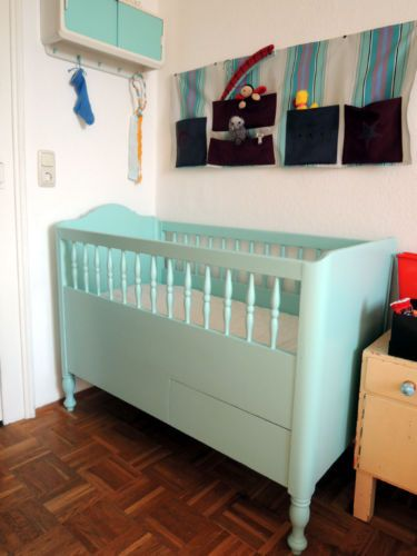 Kinderbett Babybett Gitterbett Schreinerbett In 50er Jahre Blau In