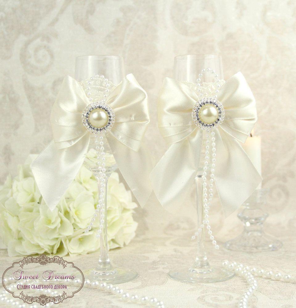 Champagne wedding flutes Wedding ivory glasses Lace Wedding Glasses ...