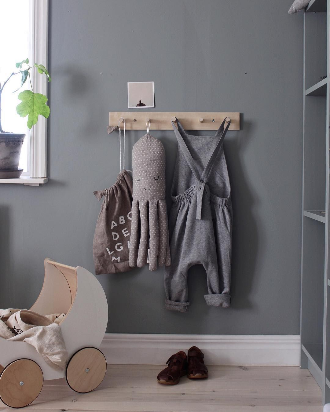 Peg Rack In Kids Room For Coats And