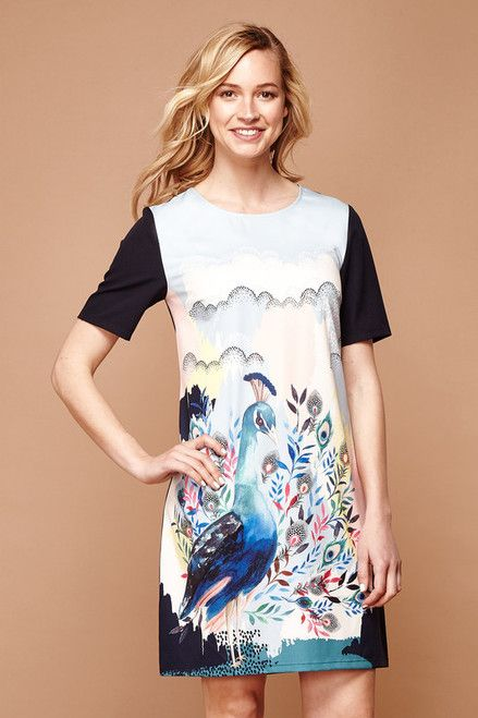 77749a6ad995f Yumi Abstract Peacock Tunic | Peacock | Tunic, Dresses, Clothes for ...