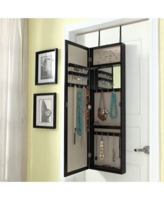Over The Door Jewelry Organizer With Mirror   White