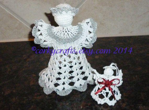 Christmas in July Crochet  Angel tree topper bottle by Corkycrafts