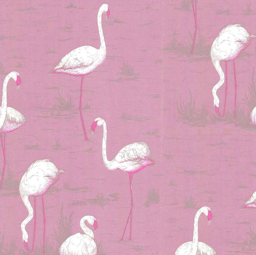 Papel pintado flamencos rosa telas papel papeles - Papel y telas ...
