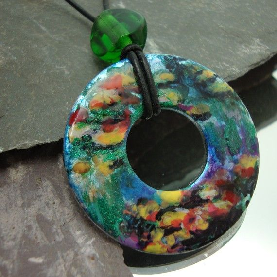 Monet Inspired Water Lillies  Hand Painted by PerfectPairJewelry, $57.00
