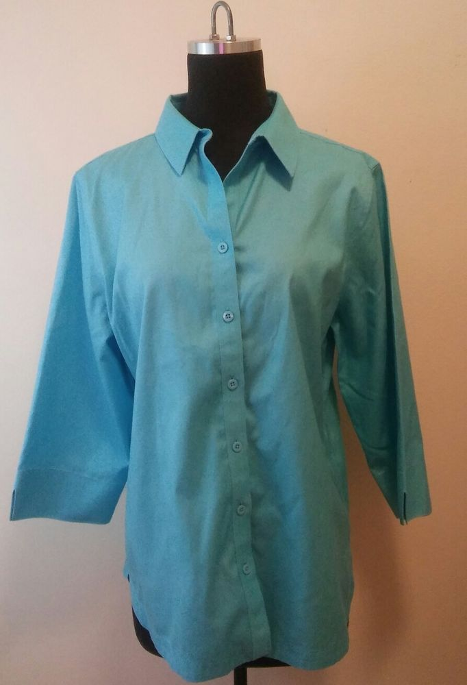 0cc8707d953 Chico s Size 1 Women s Aqua Blue Button Down Career Blouse 3 4 Sleeve Shirt   Chicos  ButtonDownShirt  Career