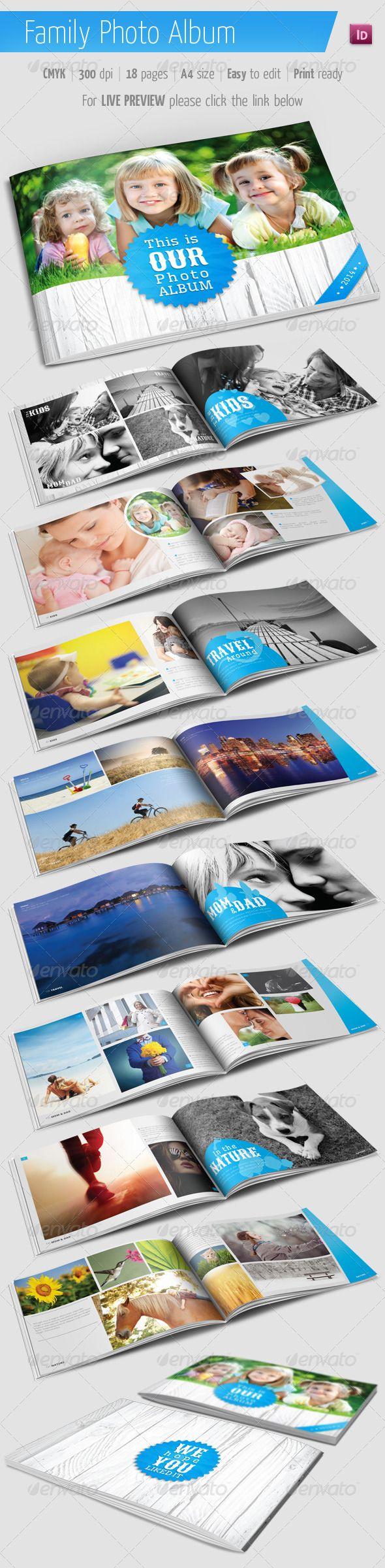 Family Photo Album for Indesign - Photo Albums Print Templates ...
