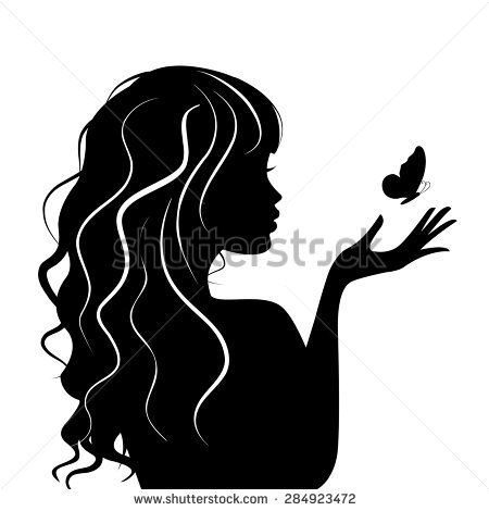 silhouette beauty girl with butterfly  silhouette
