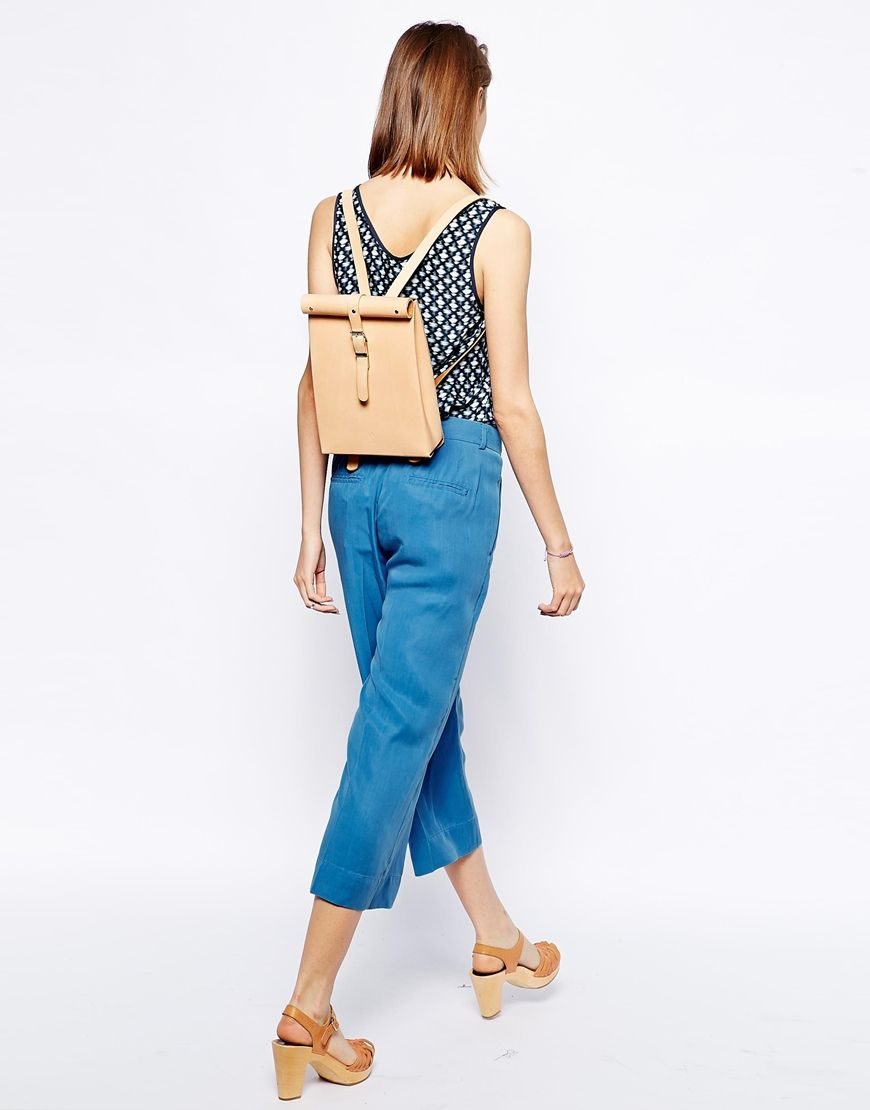Chloe Stanyon Roll Top Leather Backpack in Natural