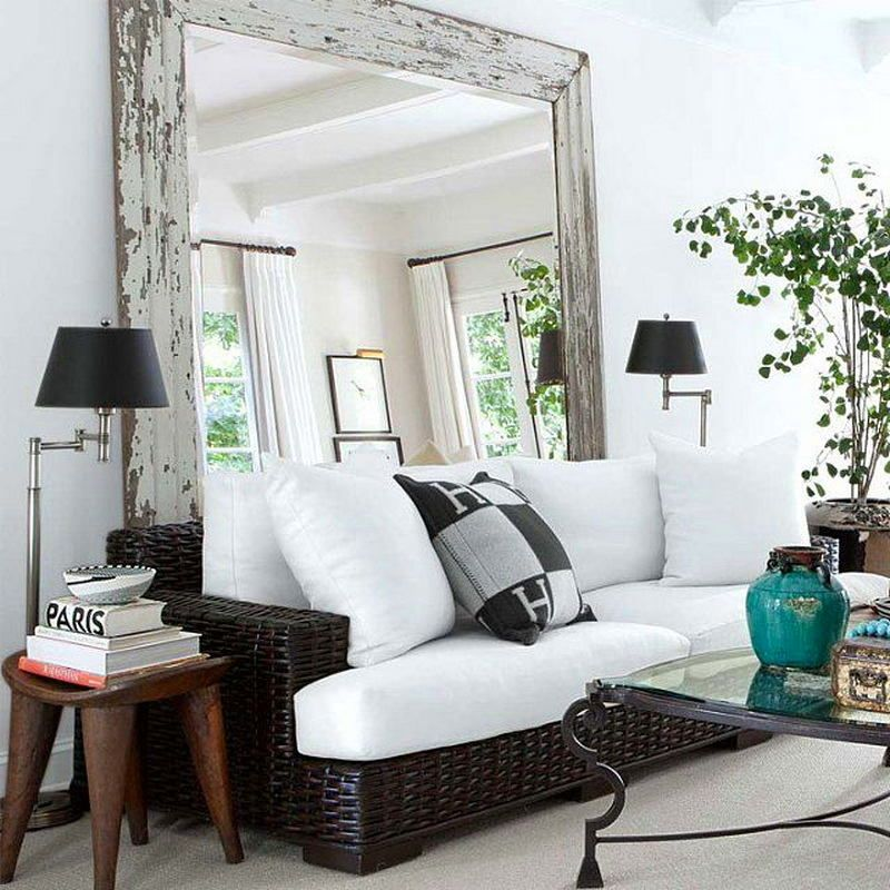 Big Living Room Mirrors Decoration Idea For With Brown Sofa Love The Mirror Behind Couch Should Make A Small Look Bigger