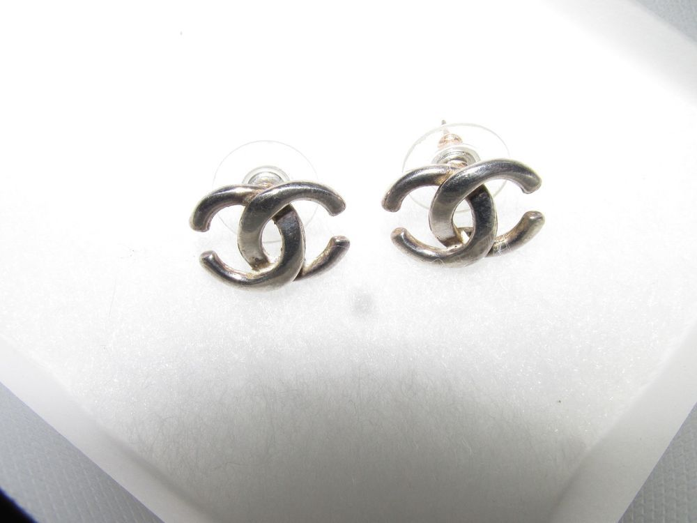 Chanel Earrings Cc S Studs Sterling Silver In Jewelry Watches Fashion Ebay