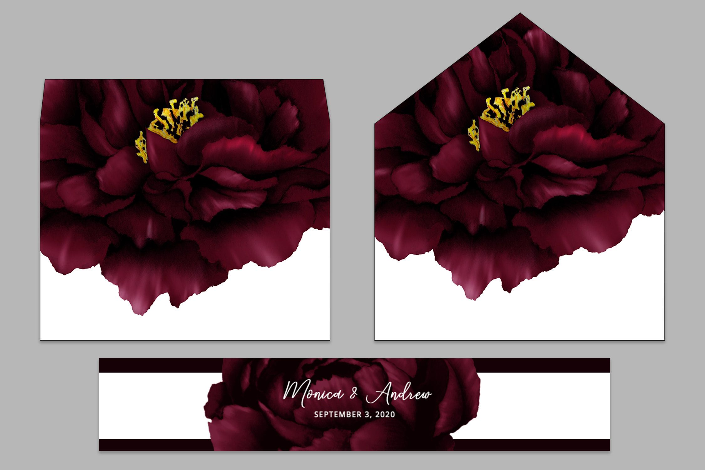 Burgundy peony wedding envelope liners belly band