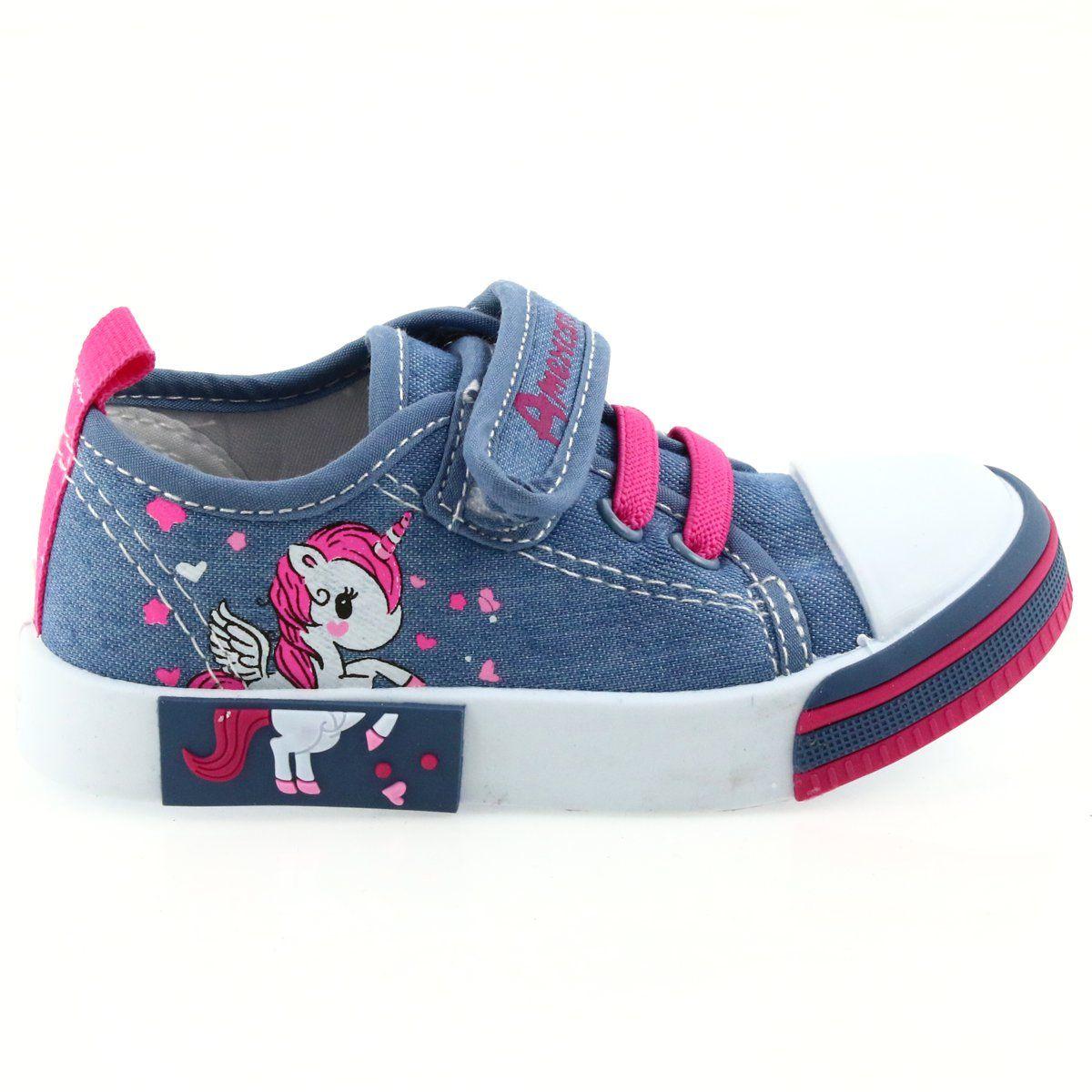 American Club Niebieskie Trampki Dzieciece Na Rzepy 28 19 Rozowe Childrens Sneakers Childrens Shoes Sneakers