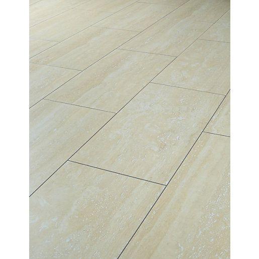 Wickes Travertine Tile Effect Laminate Flooring | Travertine ...