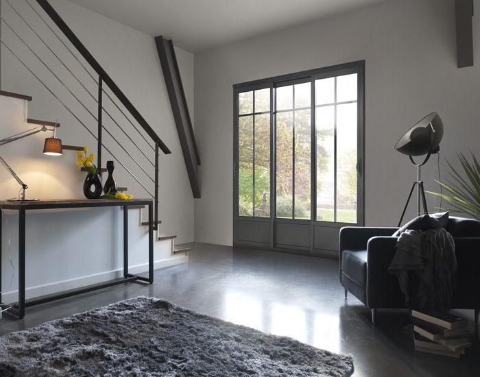 Coulissant 3 vantaux 2 rails monocolore gris ral 7016 textur petits bois incorpor s laqu s for Fenetre 7016