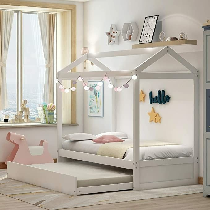 Twin Daybed with Trundle, Wood Twin Size House Bed/Toddler ...