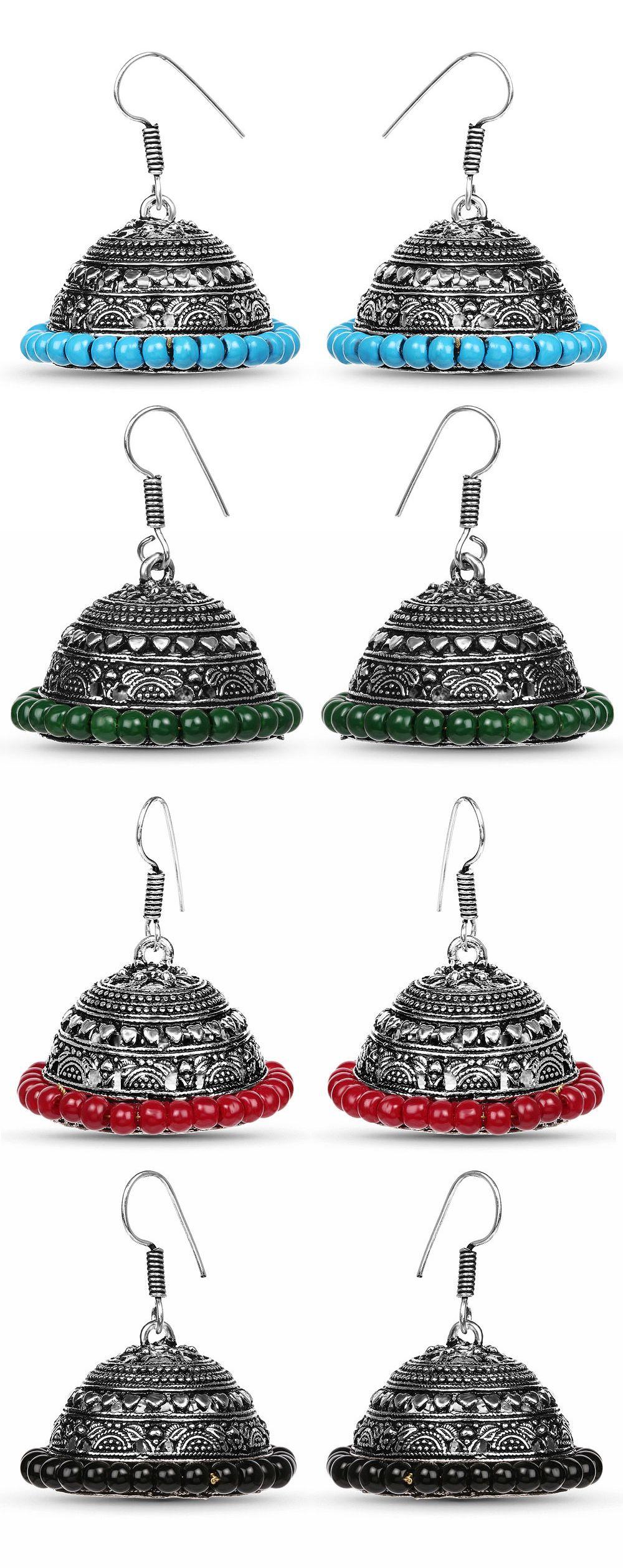 Green Stone Oxidised Jhumki Earrings Johareez.com