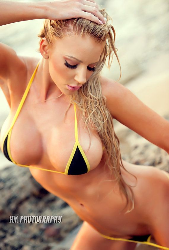 8a143edeb0 Black and Yellow Mini Micro G-String Bikini 2pc Sliding Adjustable ...