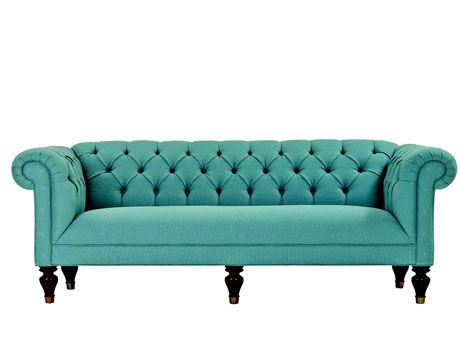 Teal On Tufted Sofa With Pleated Roll Arms