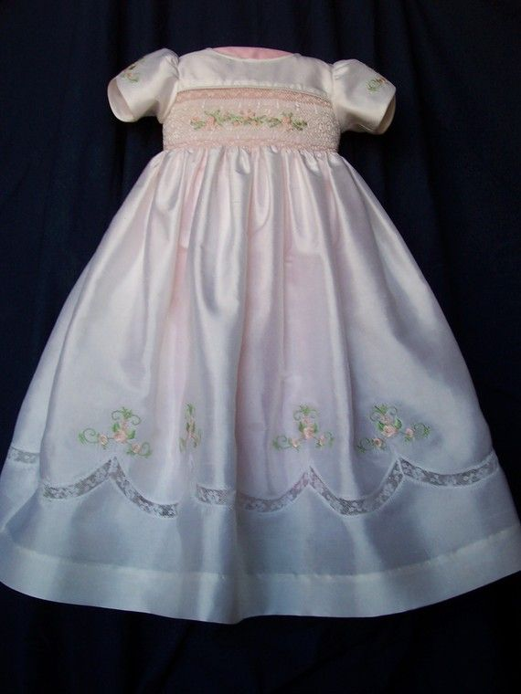 Silk Hand Smocked Christening Blessing Dress Blessing