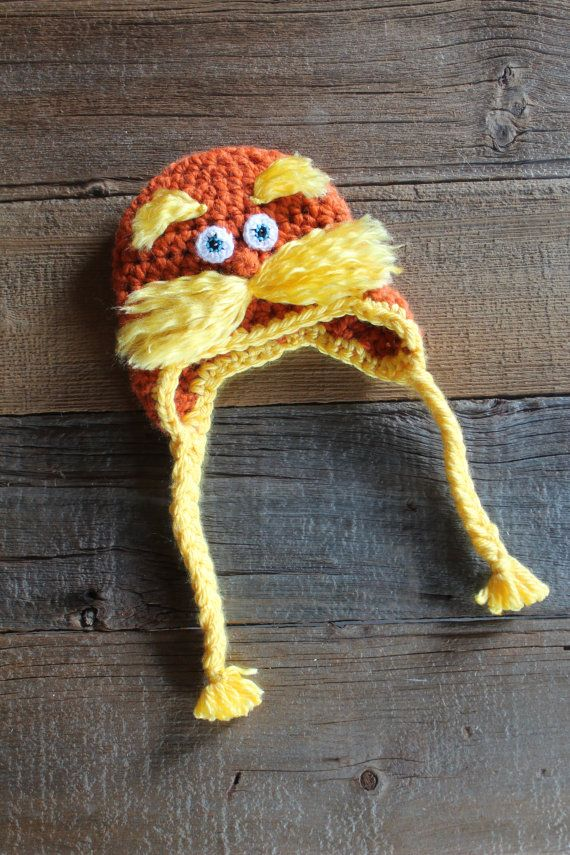 Lorax Hat with Earflaps and Braids by ThatGirlsCrafts on Etsy ... 86fc5cc2e212