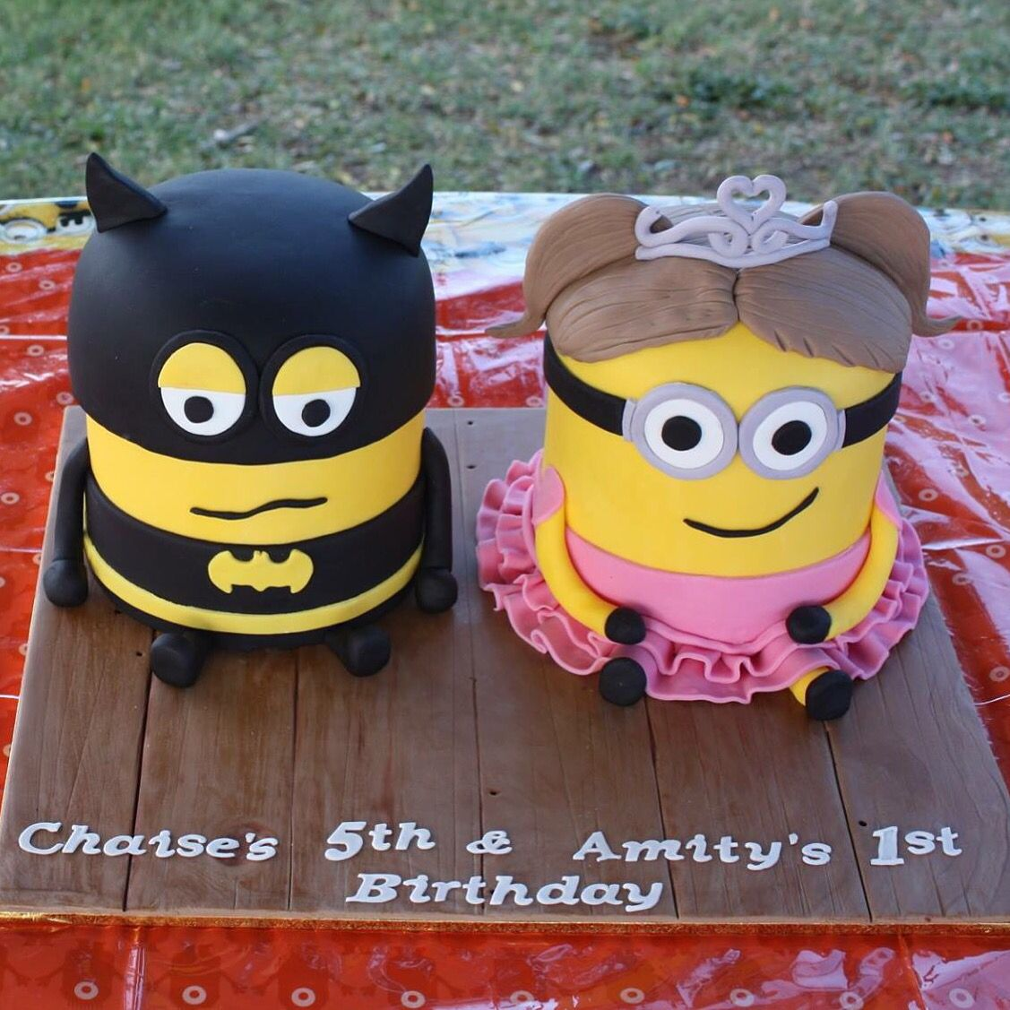 Minion Batman and Minion Princess we had made for our children's birthday  party.