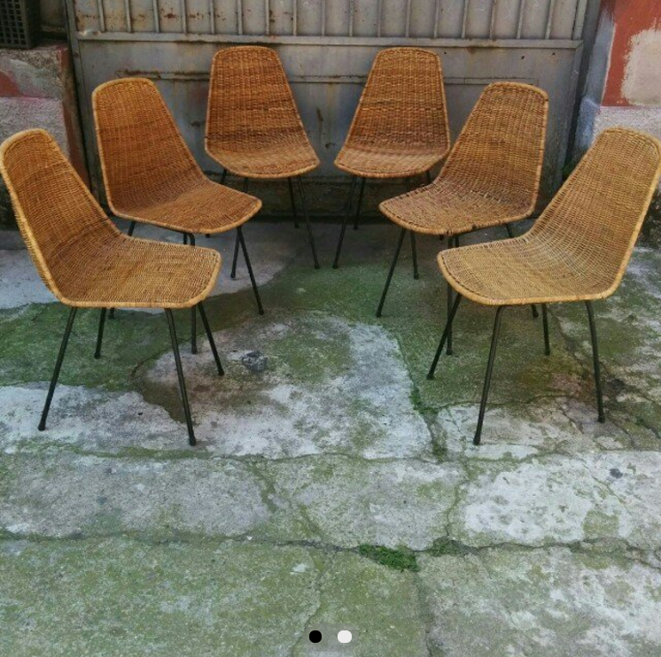 390 sei sedie in vimini stile campo e graffi con zampa for Poltroncine per tavolo pranzo
