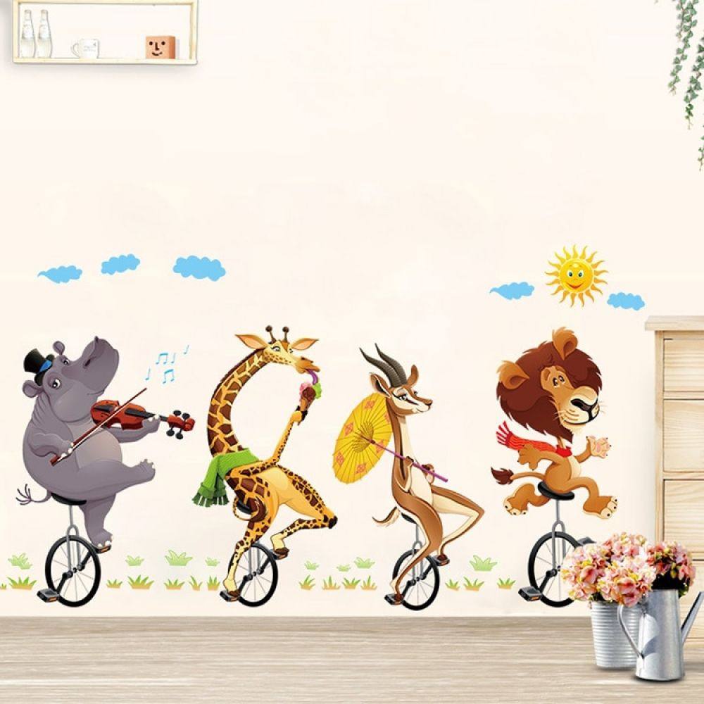 Best African Wall Decals Animals On Bikes For Kids Room With 400 x 300