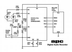 the circuit diagram for our digital audio recorder electronicsthe circuit diagram for our digital audio recorder