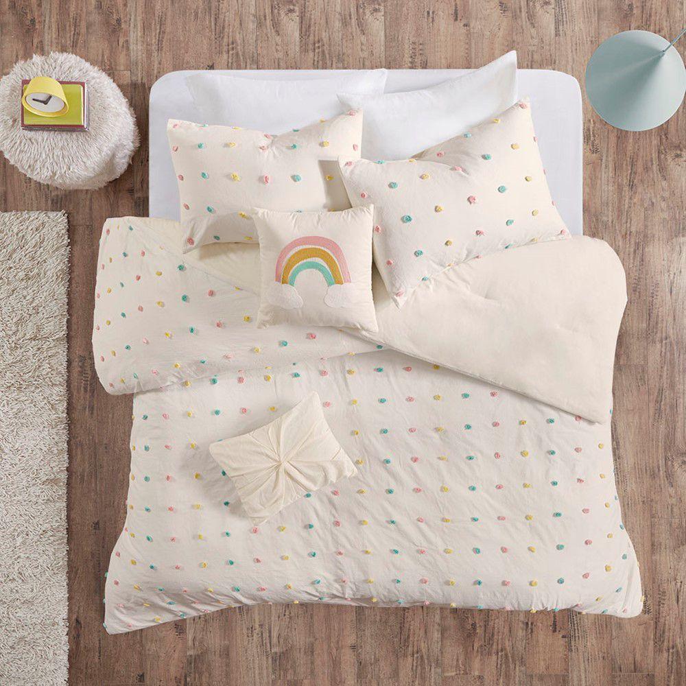 Callie Cotton Jacquard Pom Pom 4 Piece Comforter Set Multi Twin