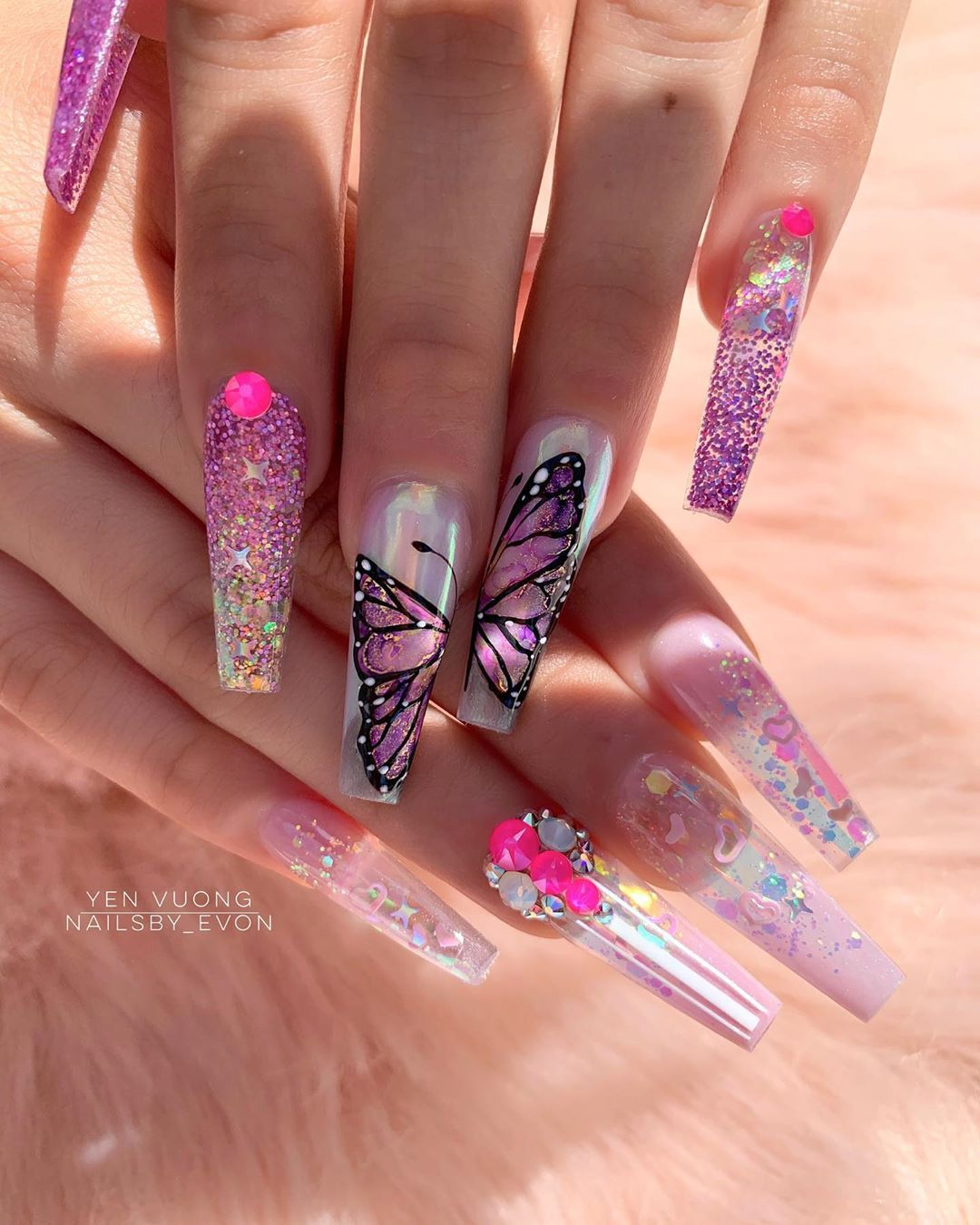 Shiny Butterflies Nails Butterfly Nail Designs Pink Acrylic Nails Coffin Nails Designs